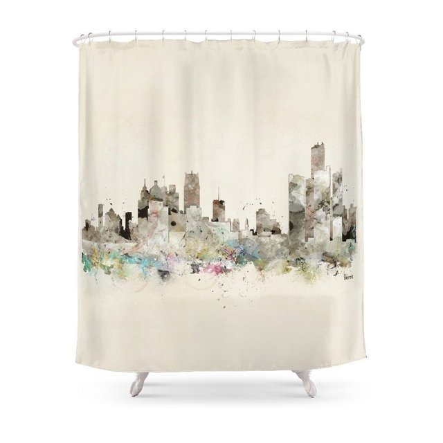 Detroit Michigan Skyline Shower Curtain Set Waterproof Polyester Fabric Bath For Bathroom With Non