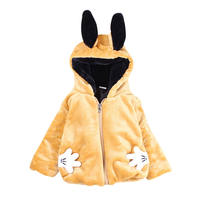Hot Sale Winter Ultra-soft Casual Cotton Fleece Girls Coat Cute Rabbit Ears and Tail Hooded Wool Children Warm Outerwear 4 Color