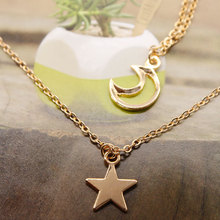 Fashion Moon Star Long Chain Necklace Pendant Women Tassel Double Layered Clavicle Charm Necklaces