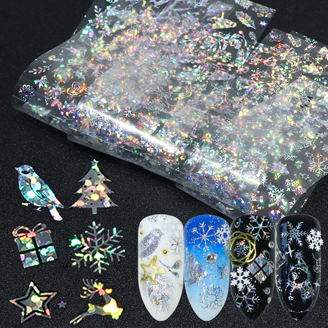 8pcs Christmas Foils For Nail Holographic Laser Nails Transfer Foil Wraps Sticker Clear/Black Starry Tip Snowflake Elk Set SAA21