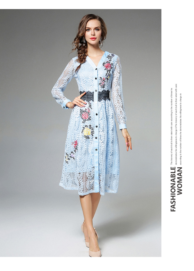 Sky Blue V-neck Floral Embroidered Lace Dress Autumn Dresses Women 2018 Vestido De Festa Hollow Out Christmas Dress K945180 12