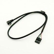 10 sztuk Micro USB męski z kątem prostym do Dupont 5 Pin żeńskie kabel płyty głównej 50 cm/1.5ft