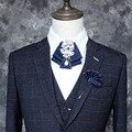 Novo Frete Grátis mulher new colarinho do terno Dos Homens da moda masculina vestido camisa laço duplo-Coreano de alta qualidade do diamante toalha de bolso broche