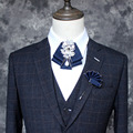 Nuevo Envío Libre hombres de la moda mujer nuevo collar traje camisa de vestir corbata Coreano doble de diamantes de alta calidad toalla de bolsillo broche