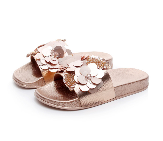 shoes woman sandals technology sequin slippers flower sandals non-slip flat  bottom outdoor ladies generation of summer b9ba7105faea