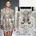 La primavera y el verano de la nueva llegada bordado barroco de la moda de metal de oro rebordear falda de una línea de falda de las mujeres