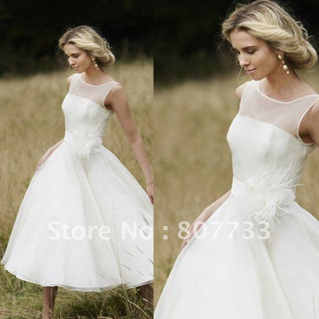 15b04cd321b02 Elegant strapless sexy sheer boat neck tea length short beach wedding dress