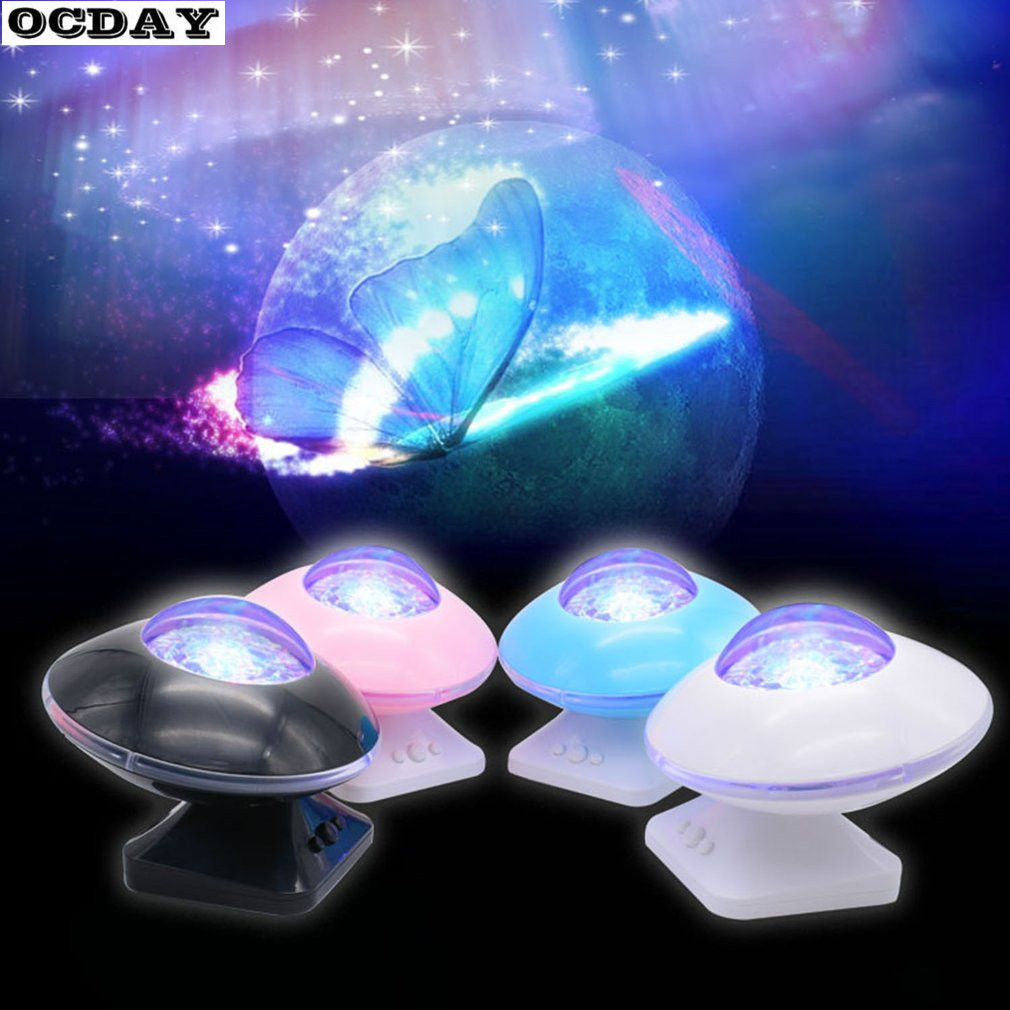 OCDAY Starry Sky Aurora LED Music Speaker Novelty LED Light Flashing Projector Lamp for Kids Children Baby Toys Birthday Gift