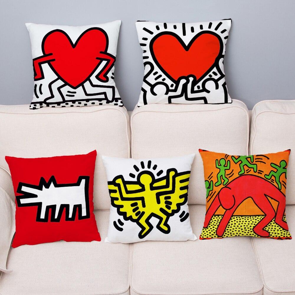 Keith Haring Graffiti Print Cushion Cover Super Soft Short Plush Pillowcase 45*45cm Throw Pillows Covers Home Decor Pillow Case
