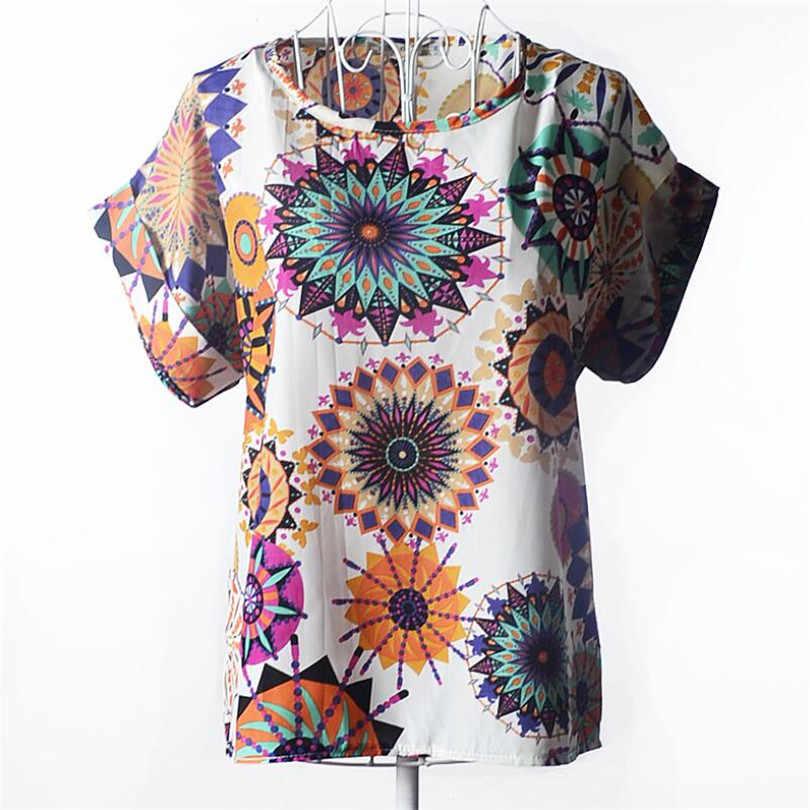 YGYEEG صيف المرأة الأبيض مخطط الشيفون البلوزات قمصان 2019 قمة الموضة الجديدة قصيرة الأكمام س الرقبة بلوزة المرأة بلايز المحملة Blusas