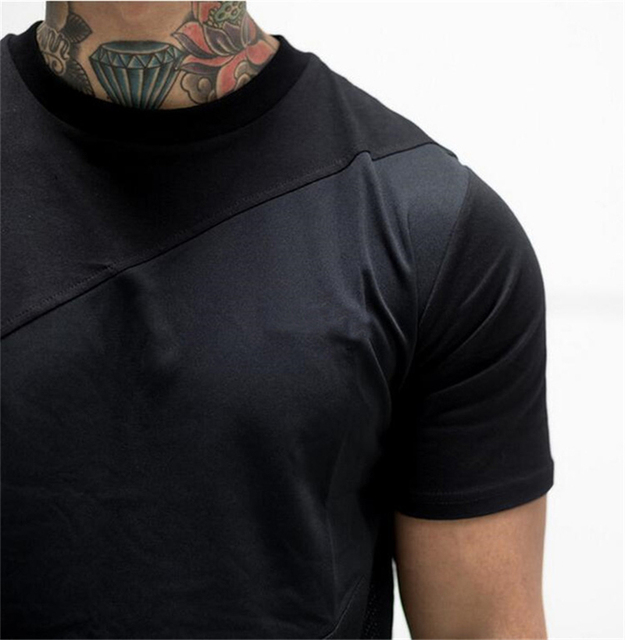 Mens Soild T-Shirt Muscle Brand Fitness Bodybuilding Workout Clothes Man Cotton Blank Man T Shirt Men plus size tee tops