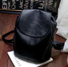 2017 Новый Чистый Черный искусственного ИСКУССТВЕННАЯ кожа женщины рюкзак сумка Корейский стиль моды плечи мешок
