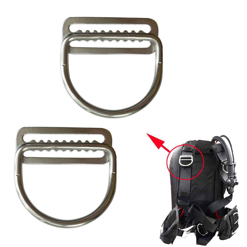 2PC 45 Degree 316 Stainless Steel Diving Weight Belt Keeper With D Ring For 5cm Harness BCD Weight Belt Stage Cylinders