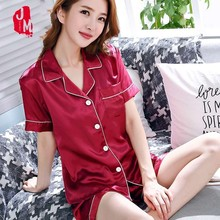 Summer Women Short Silk Pajama Sets Solid Satin Pyjamas Sexy Sleepwear Two Piece Set Female Homewear Loungewear XXL