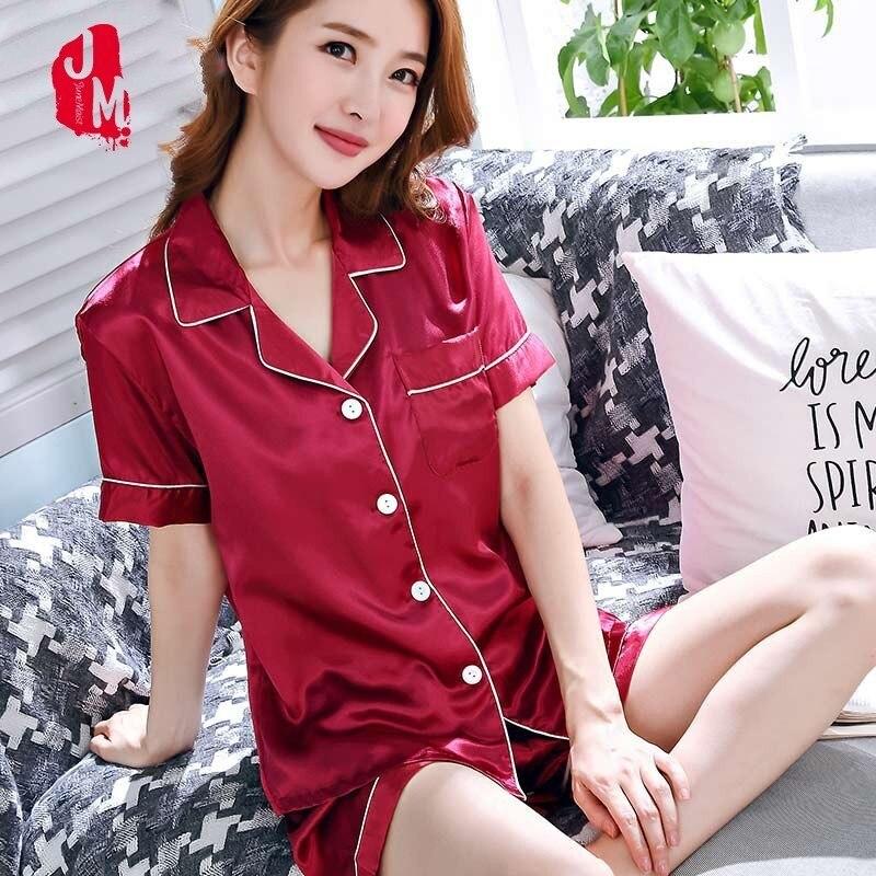 Summer Women Short Silk   Pajama     Sets   Solid Satin Pyjamas Sexy Sleepwear Two Piece   Set   Female Homewear Silk Pyjamas Loungewear XXL