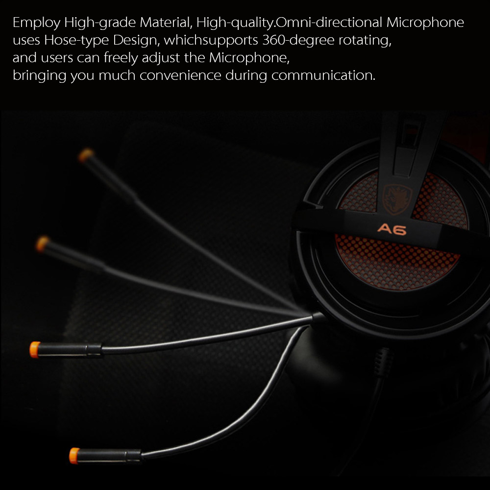 SADES A6 USB 7.1 Stereo wired gaming headphones game headset over ear with mic Voice control for laptop computer gamer 8
