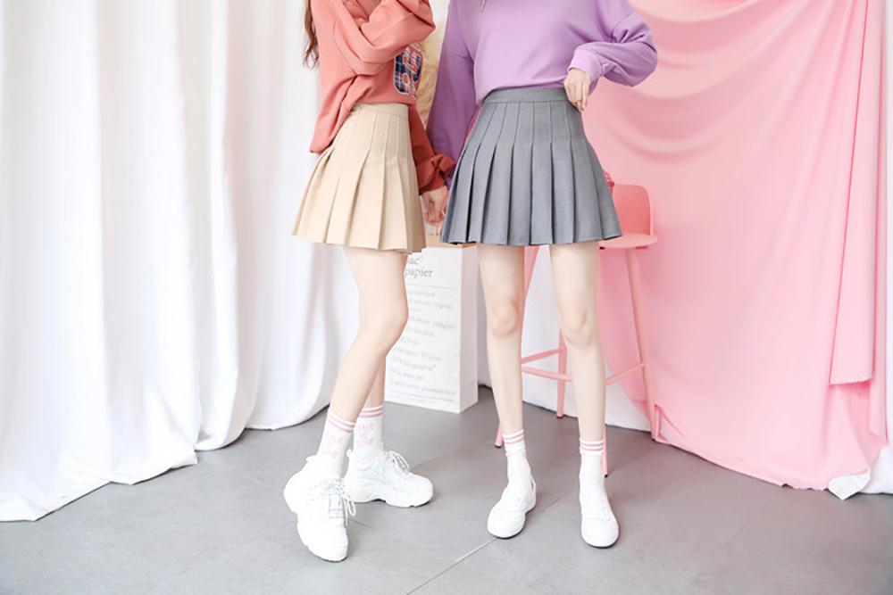 New High Waist A Line pleated skirts Harajuku Lolita Gray White Black a-line sailor skirt Cosplay Japanese school Skirts uniform 9