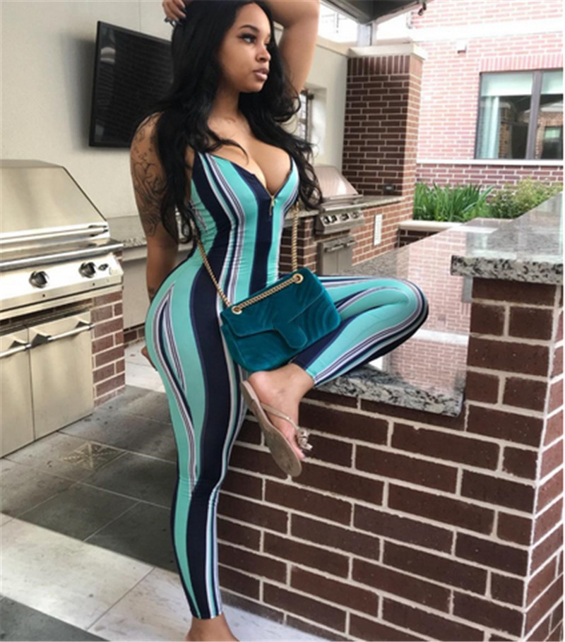 2019 Sexy Women Ladies Sleeveless Strap Striped Jumpsuit Rompers Bodycon Slim Backless Jumpsuit Summer Casual Rompers Trousers