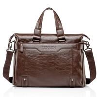 Brand Leather Bag Business Men Bags Laptop Tote Briefcases 15inch Crossbody Messenger Travel Bags Shoulder Handbags