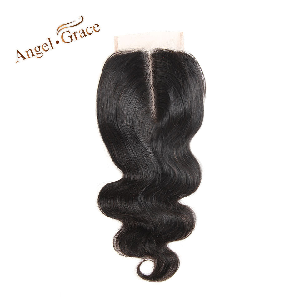 ANGEL GRACE HAIR Brazilian Body Wave Lace Closure Remy Hair 4*4 Middle Part Top Closure 100% Natural Color Human Hair