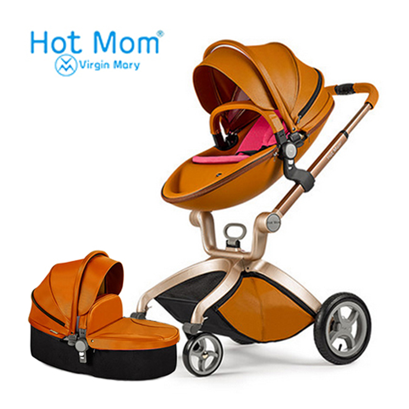 Hotmom baby stroller Eco-leather 2 in 1 light weight four shock absorbers Russia free shipping pinturicchio centenarian four wheel baby stroller baby newborn buggiest shock absorbers dual