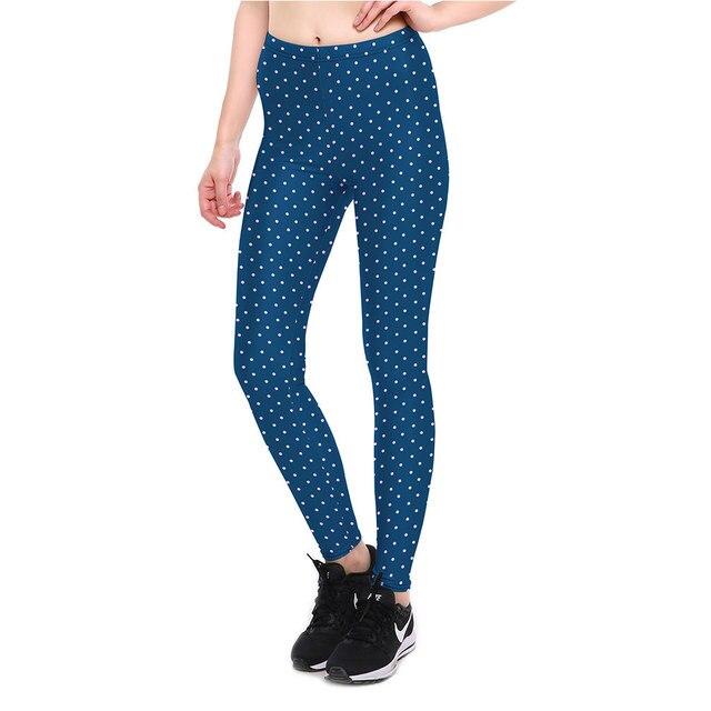 Azul Marino puntos blancos más tamaño XXXXL de las mujeres calzas  deportivas mujer fitness girls yoga be3fd07035f6