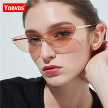 Yoovos 2019 Cat Eye Sunglasses Women Rimless One Piece High Quality UV400 Metal Retro Sun Glasses Fashion Vintage Brand Gafas
