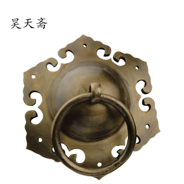 [Haotian vegetarian] bronze door knocker antique copper door handle cymbals  handle HTA-108 - Haotian Vegetarian] Bronze Door Knocker Antique Copper Door Handle