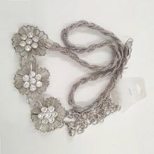 Gold Metal All-Matched Flower Waist Chain Belt For Women Dre