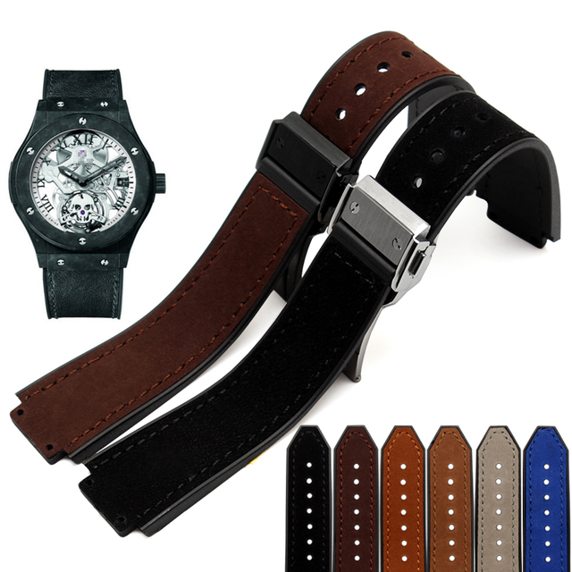 Genuine leather bracelet watch strap Watchband Convex interface 21*15mm watch band wristwatches band fold wristband buckle