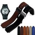 Pulseira de couro genuíno assista bracelete Pulseira Convexo interface de 21*15mm faixa de relógio de pulso banda dobra pulseira fivela