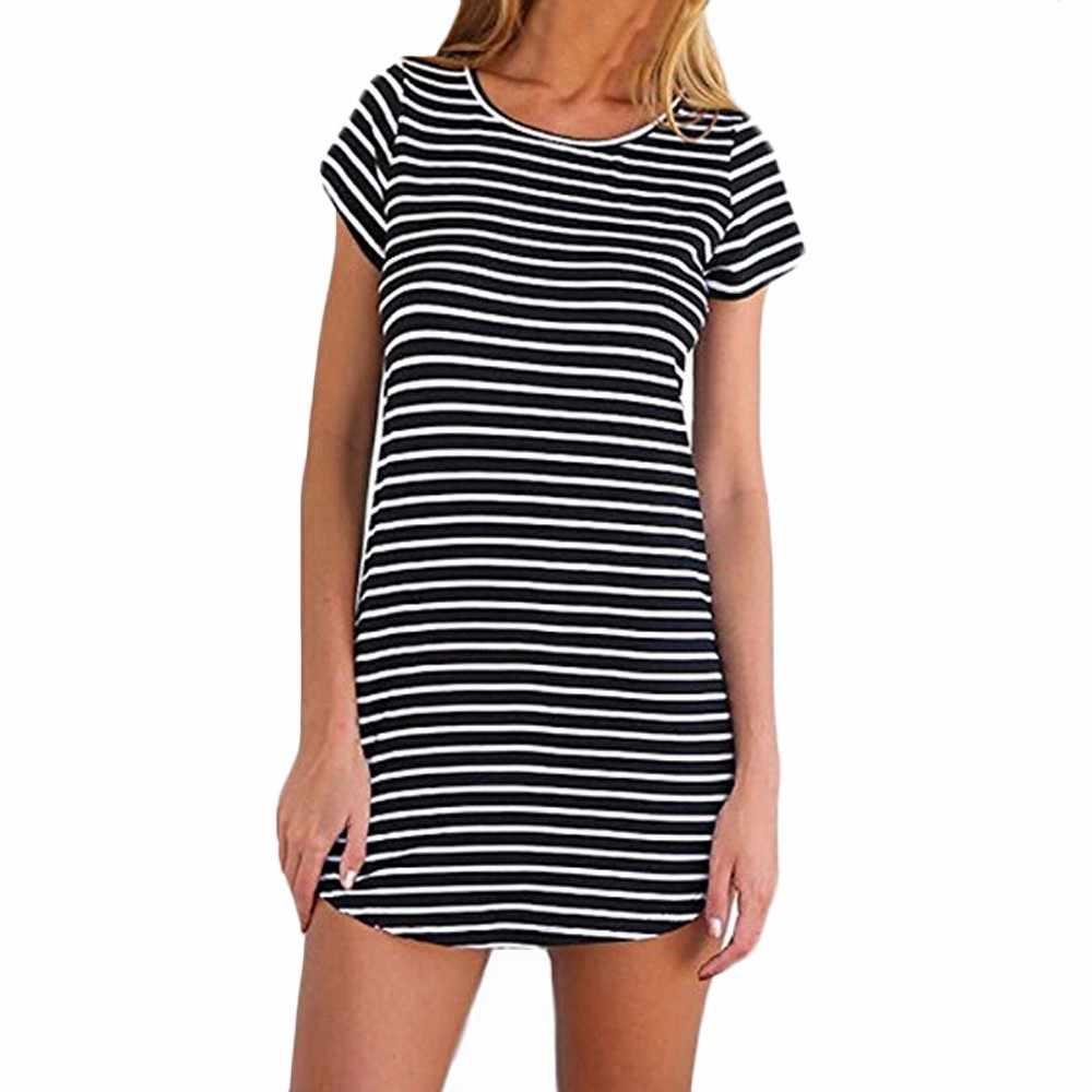 Бесплатная Страусиная Новая Женская Полосатая свободная футболка с коротким рукавом мини-платье Европейская и американская полосатая Морская душа платье с подолом, укороченным спереди
