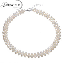Real Natural Freshwater Multilayer Choker Pearl Necklace For Women,wedding Pearl Necklace Birthday Gift
