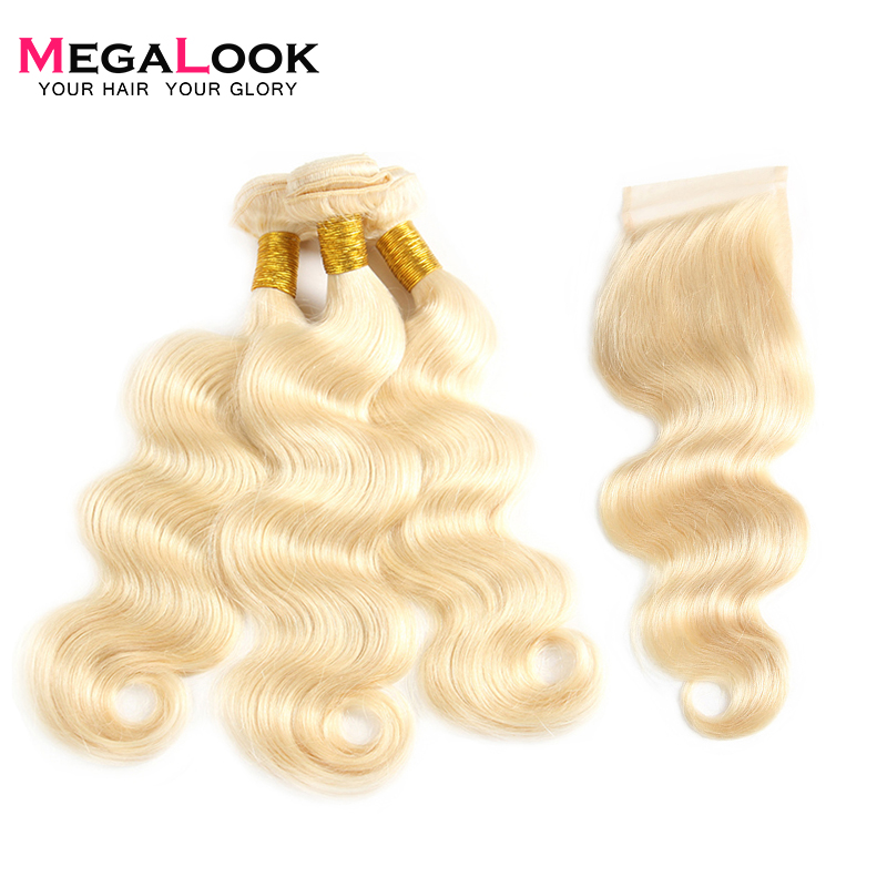 Megalook 613 Honey Blonde Body Wave Bundles With Closure Brazilian Remy Human Hair Extension With Closure