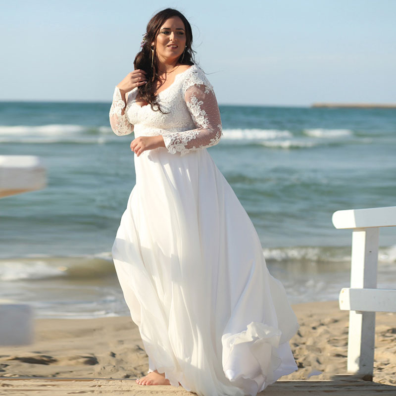 New Beach Wedding Dresses 2019 Robe Mariage Vintage Chiffon Plus Size Bride Dress Long Sleeve Appliques Lace Boho Wedding Gown