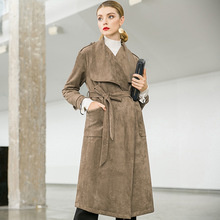 Vintage New 2018 Winter Long Women Trench Coat with Belt