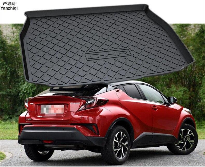 1 pièces noir intérieur caoutchouc coffre arrière tapis de démarrage tapis voiture style accessoires pour Toyota C-HR CHR 2016 2017 2018