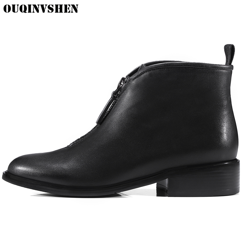 OUQINVSHEN Round Toe Square heel Mid Heels Women Boots Casual Fashion Winter Black Ankle Boots 2017 New Zipper Women's Boots ladies boots 2017 casual winter black suede round toe square heel ankle boots for women custum large size zipper shoes us 4 15 5
