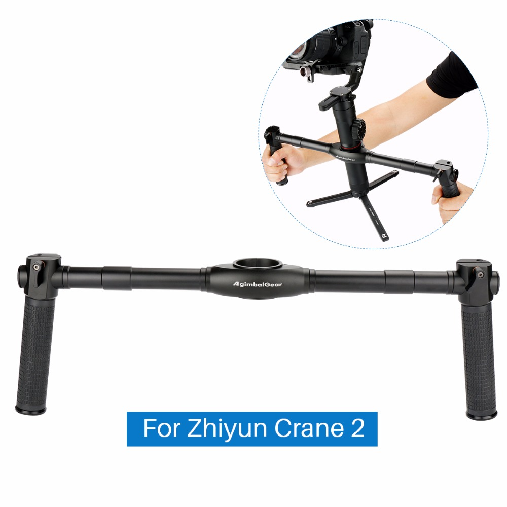 лучшая цена DH02 Dual Handle Grip for Zhiyun Crane 2 Dual Handheld Extended Handle handgrips for Zhiyun Crane 2 3-Axis Gimbal Stabilizer