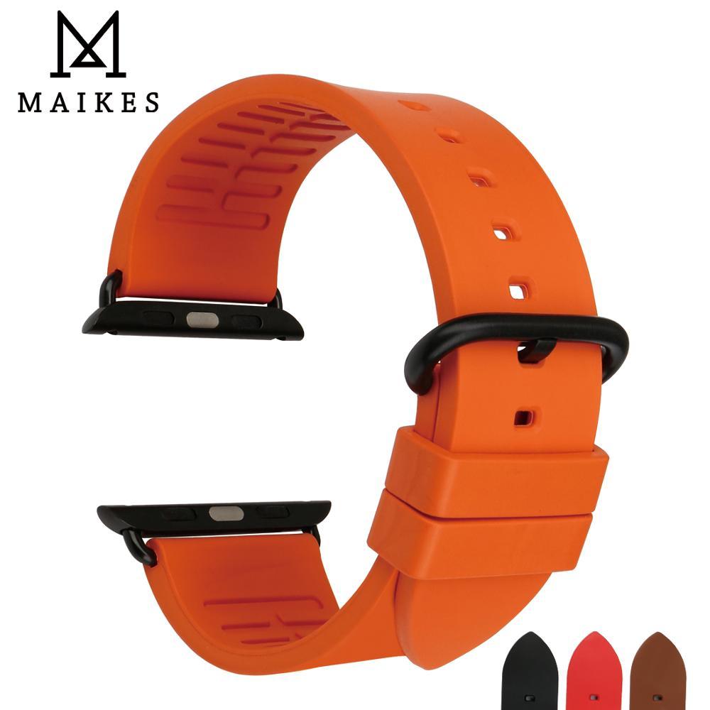 MAIKES Montre Bracelet Orange Montre Accessoires Bracelet Pour Apple Montre Bandes 44mm 40mm 42mm 38mm Série 4 3 2 iWatch Bracelets