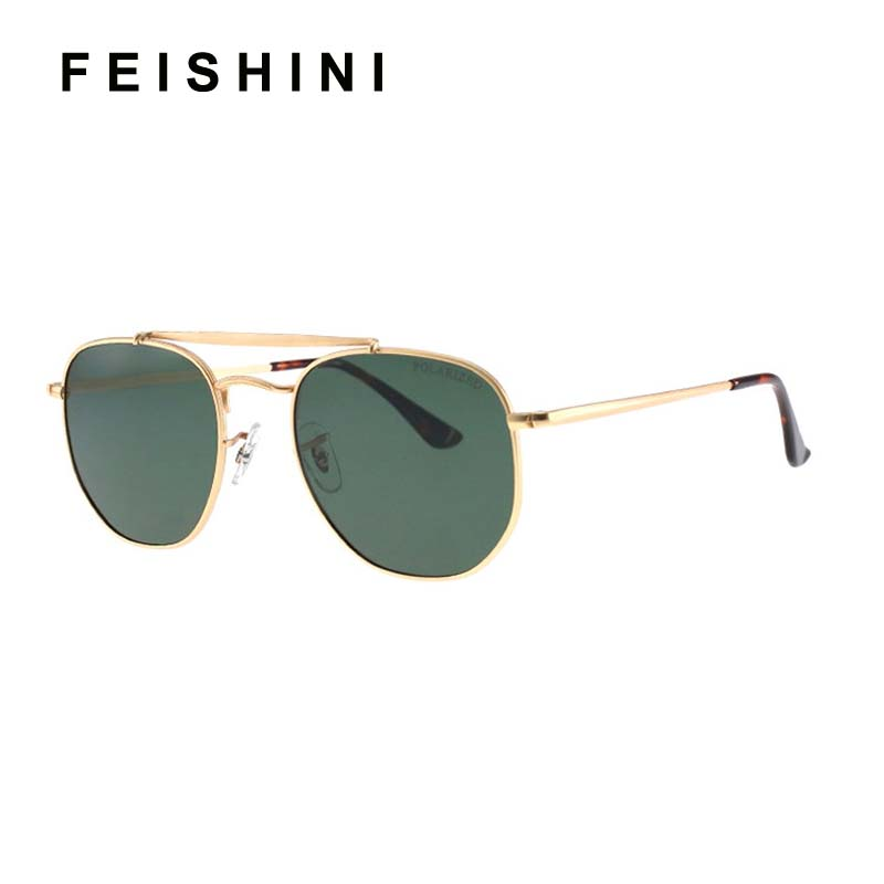 FEISHINI Brand Green Summer Copper Frame Retro Metal Hexagon Round Sunglasses Men Polarized UV400 Fashion Driving