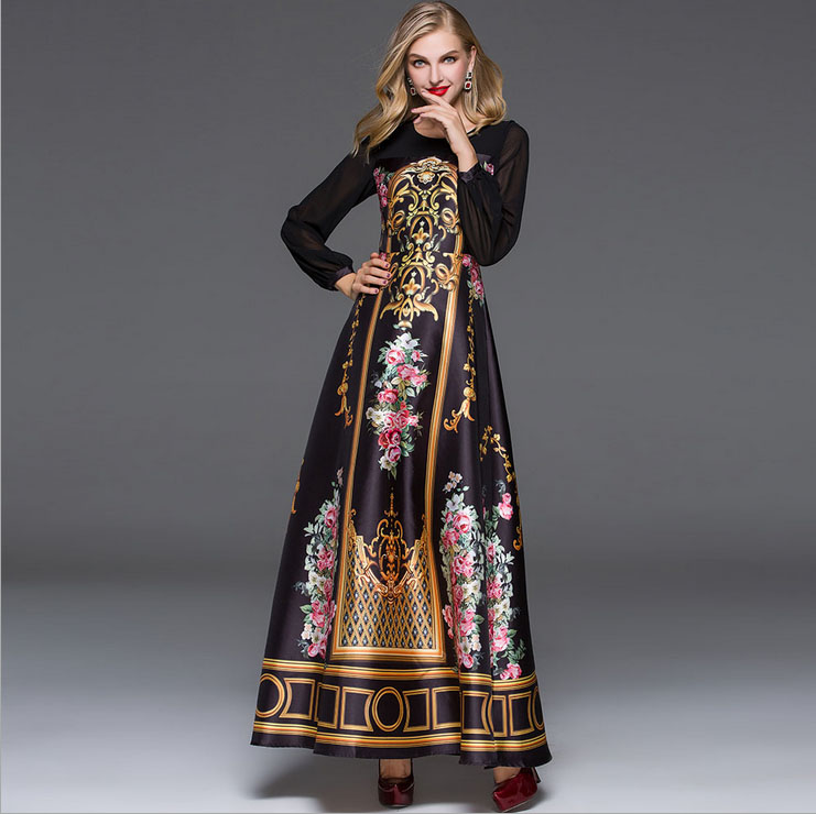 New Arrival 2018 Spring Summer Womens O Neck Long Sleeves Vintage Printed Patchwork Elegant Long Runway Dresses plus sizes