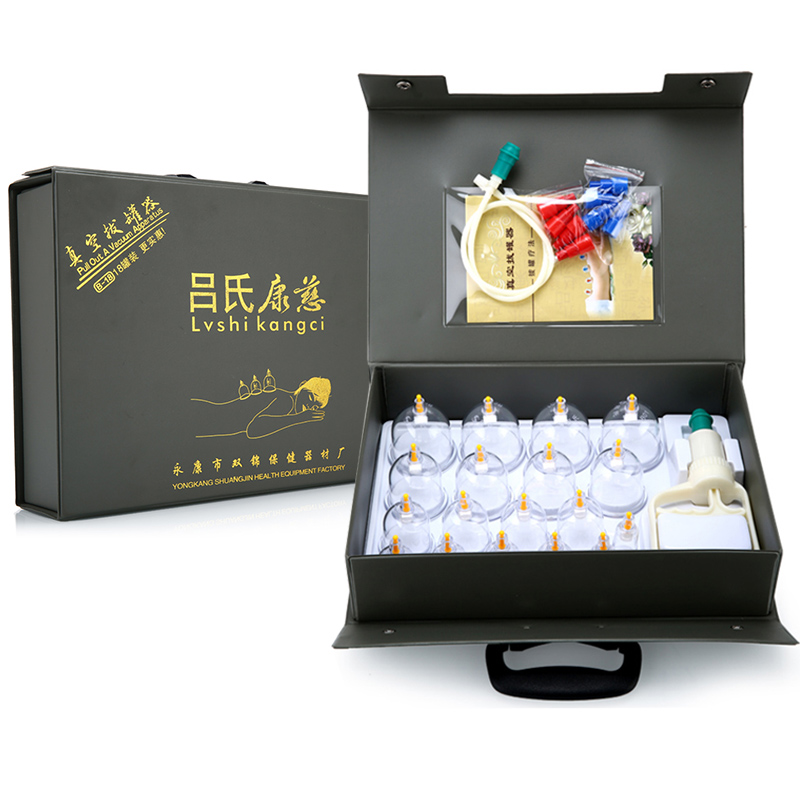Lvshi kangci brand cupping sets 18 cans hardcover gift box hijama kit health care gift for parents body massager device at home