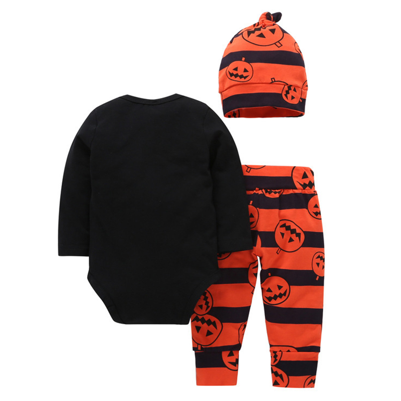ABWE Best Sale Halloween pumpkin printing Childrens Sets long-sleeved t-shirt + long pants+Cap Black+Orange, 70 yards