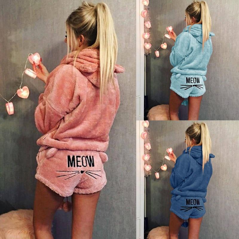 Swokii Women Pajama Sets 2019 Autumn Winter Flannel Cartoon Warm Pyjamas Animal Sleepwear Cat Female Pajama Hoodie Homewear