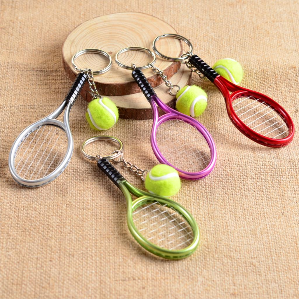 Cute Sport Mini Tennis Racket Pendant Keychain Keyring Key Chain Ring Finder Holer Accessories Gifts For Teenager Fan #1-17162