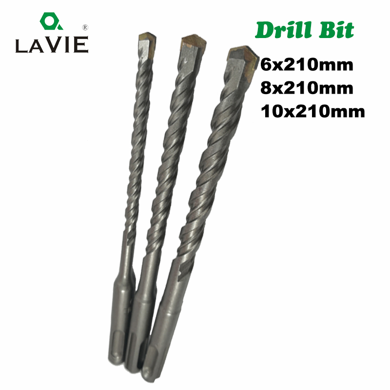LAVIE 3pc/Lot SDS Plus Drill Bits 6 8 10mm 210mm Hole Saw Drilling For Electric Hammer Concrete Wall Brick Block Masonry DB01010