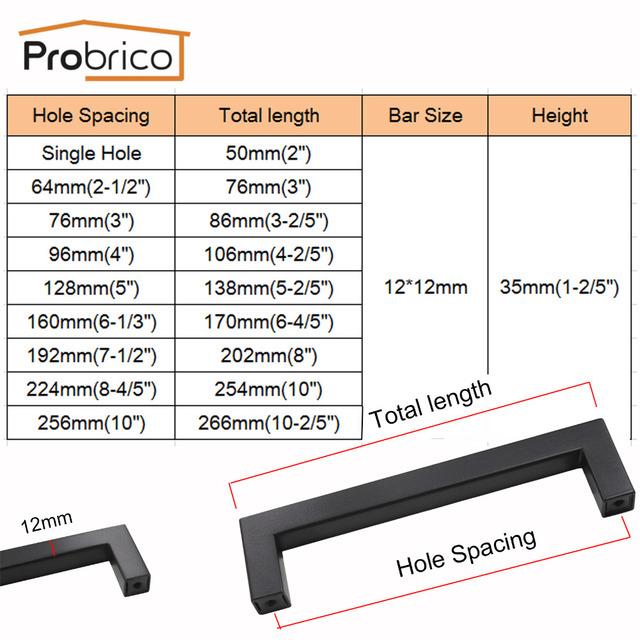 Probrico 5 PCS Black Cabinet Handle 12mm*12mm Square Bar Stainless Steel Kitchen Door Knob Furniture Drawer Pull PDDJS12HBK
