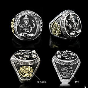 Image 4 - Thailand Buddha Elephant Ring Authentic 100% 925 Sterling Silver Rings for Men Vintage Punk Style GANESHA GANESH Men Jewelry