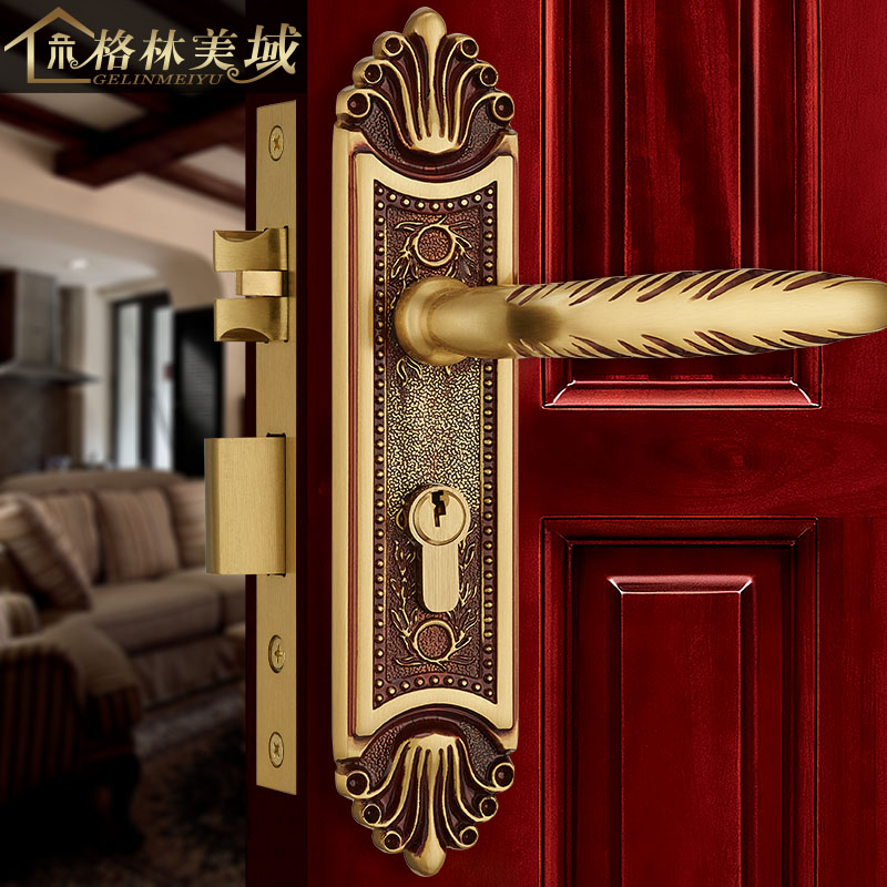 все цены на Full copper American bedroom villa door lock interior European copper handle solid wood door lock